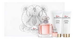 Perfume Importado Mujer Mon Guerlain Edt 100ml + 5ml Body Lotion Y Shower Gel