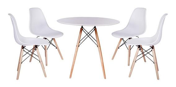 Kit Mesa Jantar Eiffel 80cm Branca + 4 Cadeiras Eames Eiffel