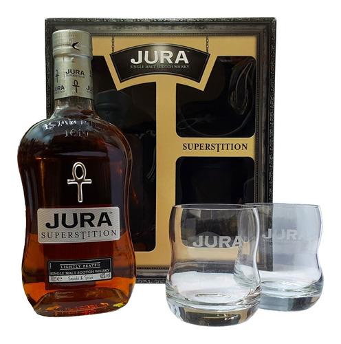 Whisky Jura Superstition Single Malt C/2 Vasos Y Estuche