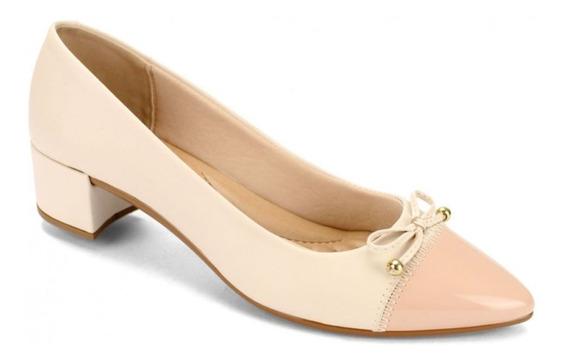Sapato Feminino Verniz Fresh Creme Rosa Beira Rio 4222.102