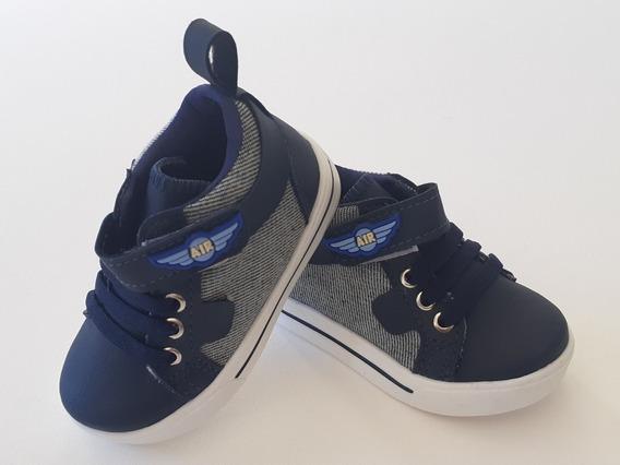 Sapatênis Infantil Menino Masculino Casual Jeans Azul Velcro