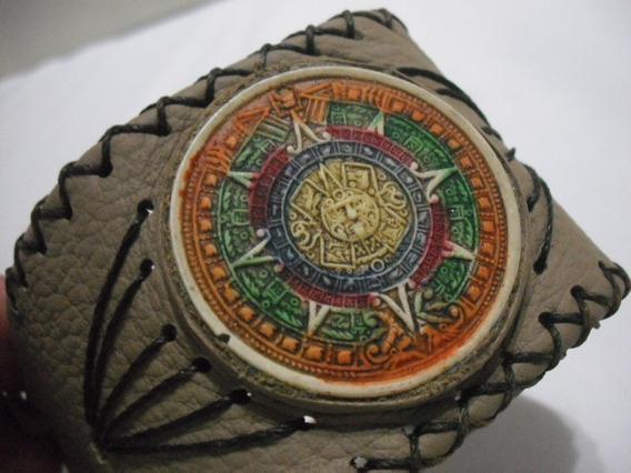 Pulseira Bracelete Couro Sintetico Calendario Asteca