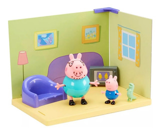 Peppa Pig Set Ambientes Habitaciones Casa + 2 Figuras 06702