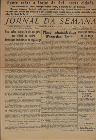 Jornal Da Semana Rio Do Sul Ano 1 Número 15 De 26/02/1949