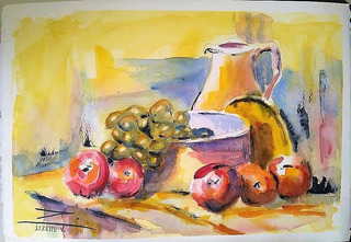 Pintura En Acuarela Bodegón-