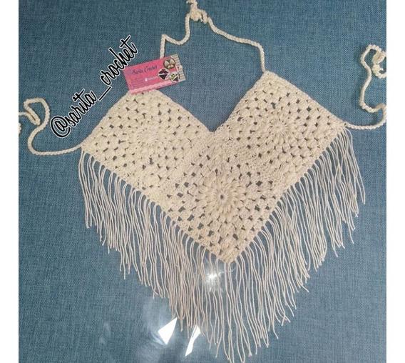 Crop Top Tejido A Crochet Blusa Dama Tejida