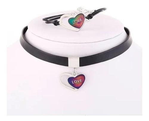 Collar Choker Colgante Corazón Set Cambia De Color Mujer
