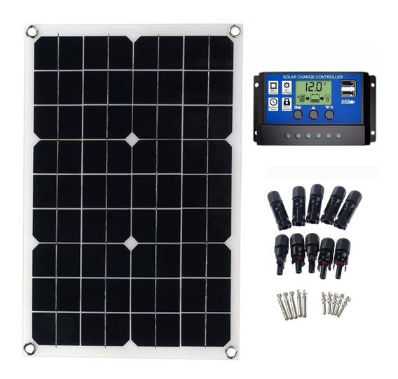 Kit Painel Solar 20w + Controlador Carga 20a + 5 Pares Mc4