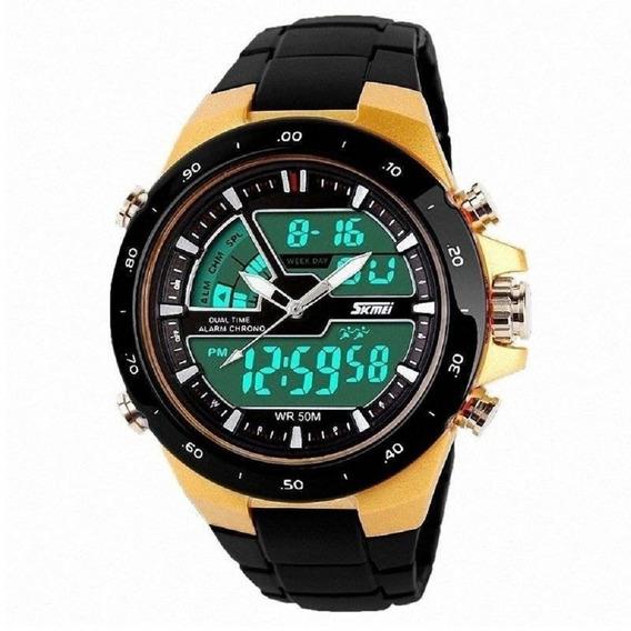 Relógio Skmei Anadigi 1016 Preto E Dourado Original