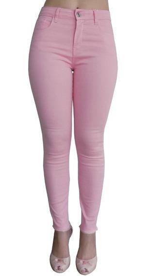 Calça Jeans Roupa Feminina Cintura Alta Skinny Rosa Promoção