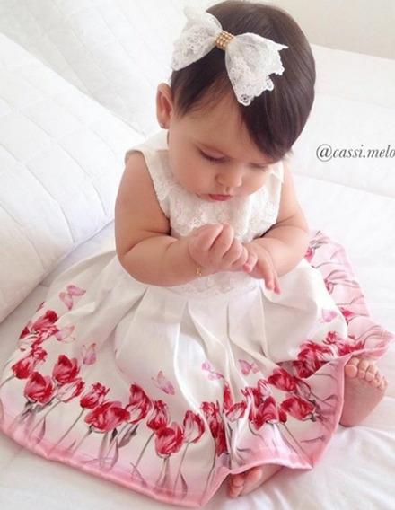 Kit Luxo Paraiso Vestido Bebe Menina Renda + Presilha 7513