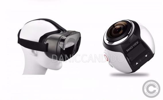 Mini Câmera Filmadora 360° Graus +óculos Vr Max 3d. Promoção