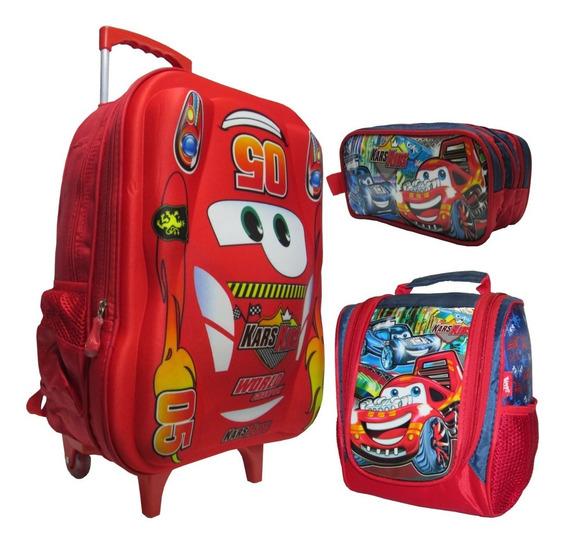 Mochila 3d Carros Infantil Estojo Lancheira Rodinhas Grande