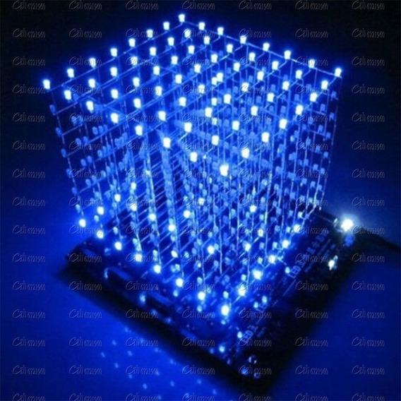Cubo De Leds 3d 8x8x8 Azul Kit Para Montar Frete Gratis