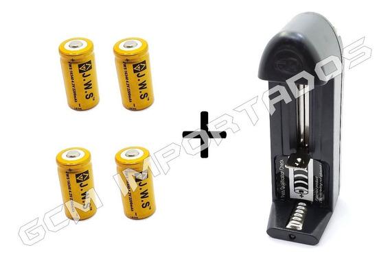 Carregador Uni + 4x Bateria Recarregável Jws 16340 Cr123a