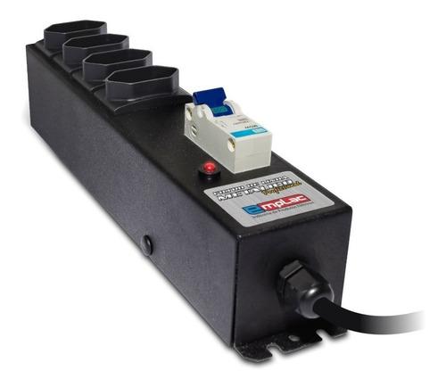 Imagem 1 de 6 de Protetor Eletrico Profissional C/ Disjuntor 4 Tomadas 20a