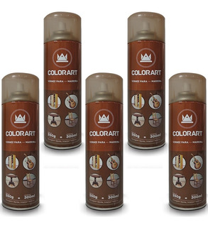 Kit 5 Lata Verniz Spray Colorart Para Madeira 300ml Imbuia