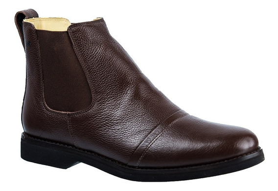 Botina Masculina Em Couro Floater Café 8611 Doctor Shoes