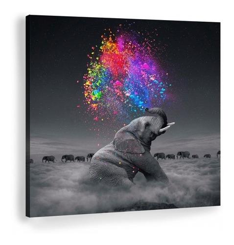 Imagen 1 de 8 de Cuadro Elefante Colores Moderno En Lienzo Canvas Envío Gratis Tintas Ecológicas No Sintético Opcional Marco