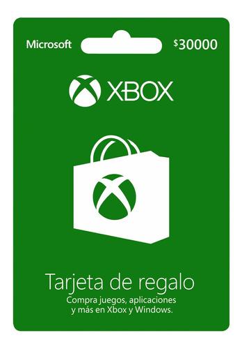 Tarjeta De Regalo Xbox 30.000 Region Colombia