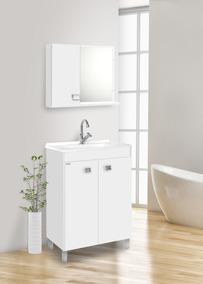 Gabinete Para Banheiro Kit Com Pés + Cuba + Espelheira