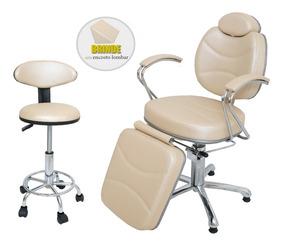 Cadeira Reclinável Poltrona Luxo Maquiagem Mocho + Brinde
