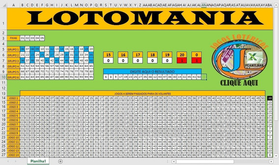 Planilha Lotomania Com 95 Dez 5 Fixas 20 Jogos