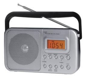 Rádio Portátil Am Fm Sw1 Sw2 Com Relógio E Alarme Coby Cr201