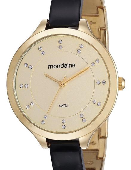 Relógio Mondaine Feminino Preto / Dourado 53614lpmvdf2