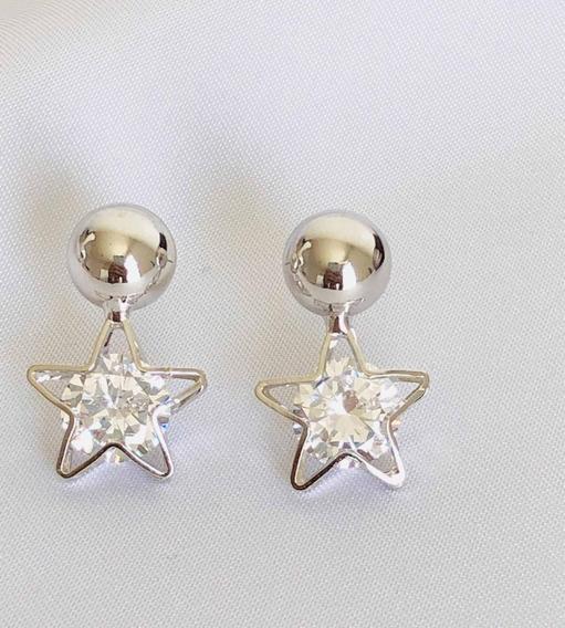 Aretes De Estrella Zirconia Diamantada + Estuche
