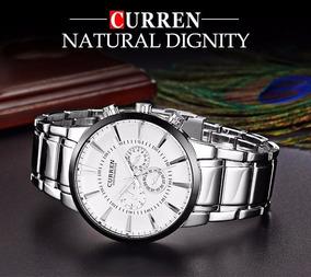 Relógio Curren 5 Cm. Cromado Original, Mergulho, Hora, Aço