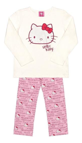 Pijama Manga Longa Infantil Mãe E Filha Hello Kitty