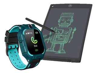Relogio Smartwatch Infantil + Tablete Lousa Magica Crianças