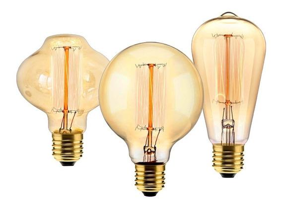 Trio De Lampadas Retrô De Filamento De Carbono P/ Luminárias