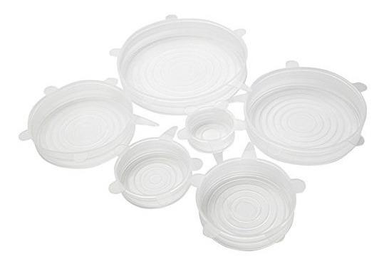 Set De Tapas Transparentes De Silicona Reutilizables X6