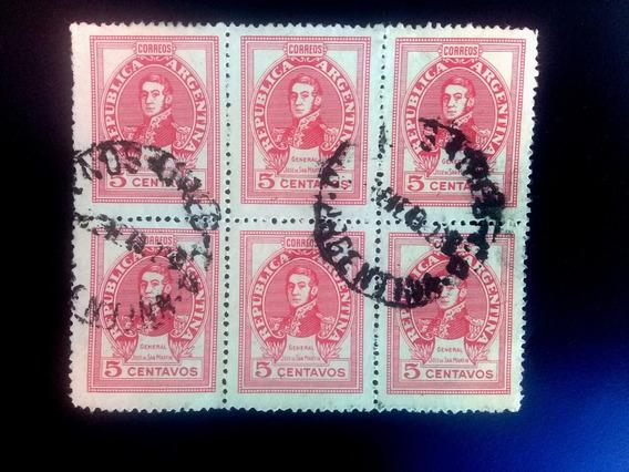 Argentina Scottargentiblok 6 .1945-1946. 5 Centavos Carmine