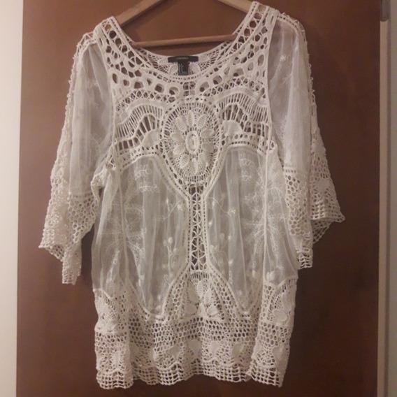 Remera O Mini Vestido Playa Calado Crochet Forever 21