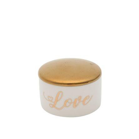 Porta Joias De Cerâmica Love Branco/dourado