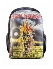 Mochila Banda Iron Maiden Couro Sintético Notebook Escolar