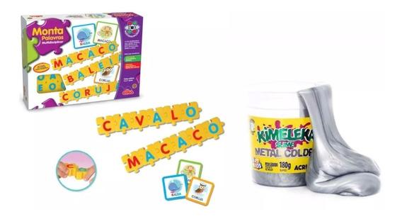 1 Slime Kimeleka + Jogo Monta Palavras - Crianças 4 A 8 Anos