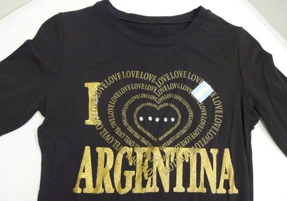 Remera Modal I Love Argentina Canutillos Strass Glitter T.s