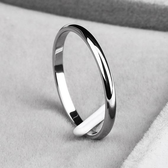 Anel Aço Inox Prateado 2mm Compromisso Noivado Casamento