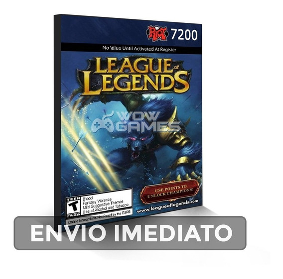 League Of Legends 7200 Riot Points Rp Cartão Lol Br Brasil