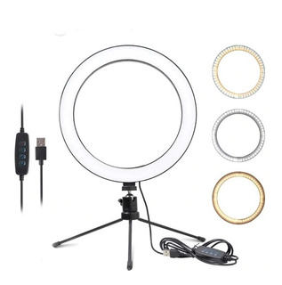 Ring Light Iluminador Selfie Makeup Tripé Mesa Luz Contínua