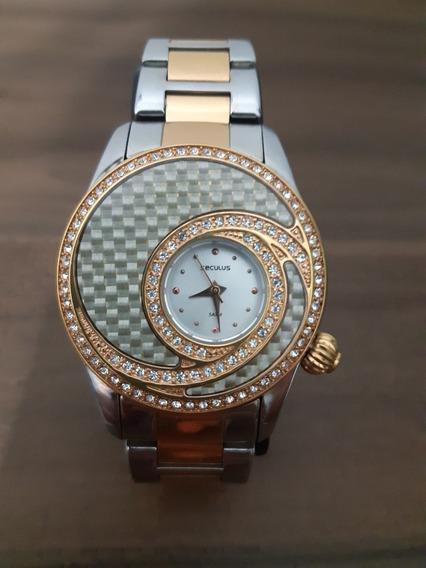Relógio Feminino Analógico Seculus Em Aço Prata E Dourado Com Strass