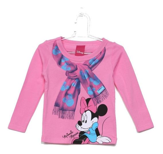 Camiseta Infantil Rosa Manga Longa Minnie Feminina Disney