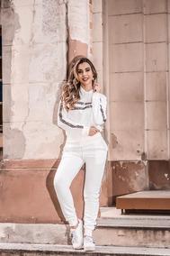 Conjunto Moletom Feminino Blusa Capuz Calça Com Lista Onça