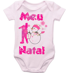 Body Bebê Natal Meu Primeiro Natal Menina *promoção De Natal
