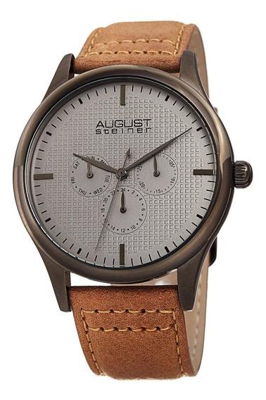 Reloj De Correa De Cuero Con Diseño De Cuarzo Y Cronógraf