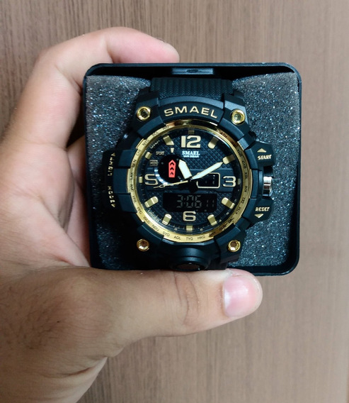 Relógio Smael Militar Shock Original Dourado 1545